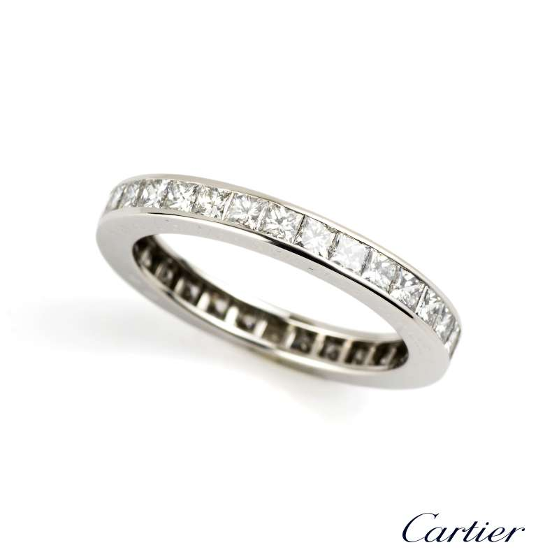 Cartier 18k White Gold Diamond Full Eternity Ring 1.76ct Size M